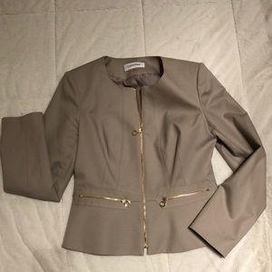 Taupe Calvin Klein Zip Up Blazer